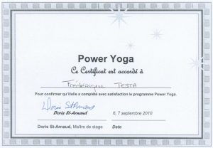 Certificat Power Yoga